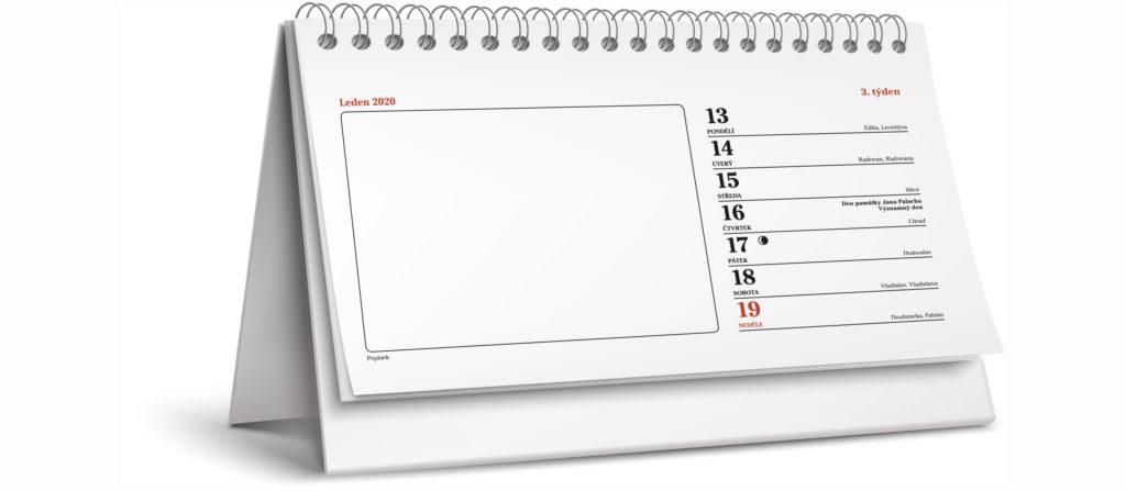 Tiskárna AKORD Chomutov - stolní týdenní kalendář vzor